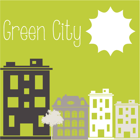green buildings: Green background with text and some buildings Illustration