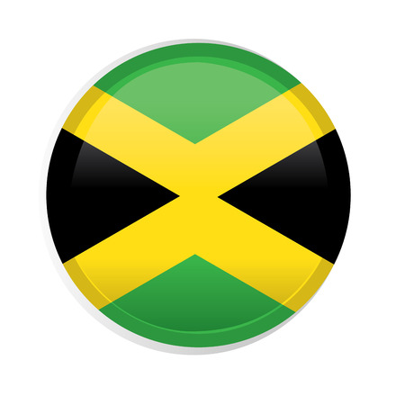 jamaican flag: A round badge with the jamaican flag on a white background Illustration