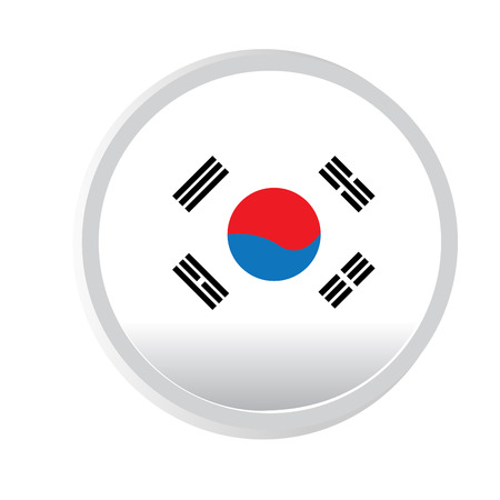 korean flag: A round badge with the south korean flag on a white background
