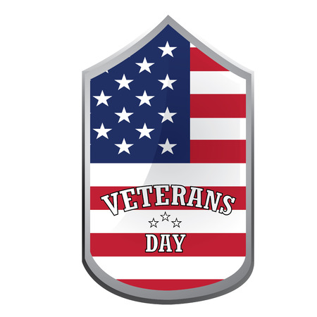 veterans: Isolated label with text and colors for veterans day