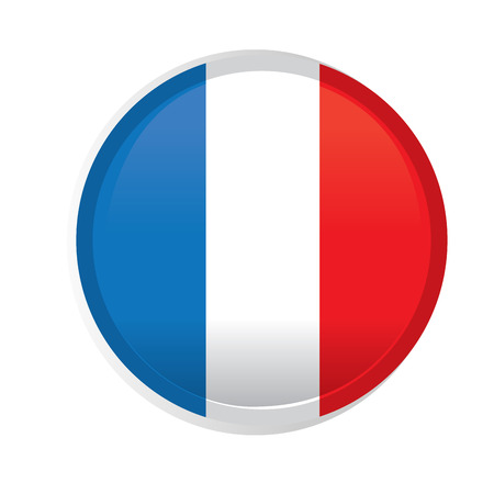 french flag: A round badge with the french flag on a white background
