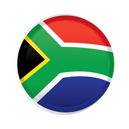 south african flag: A round badge with the south african flag on a white background Illustration