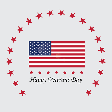 Isolated label with text and colors for veterans day