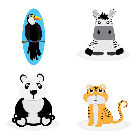 small group of animal: Set of cute animal on a white background