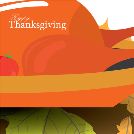 roasted turkey: Colored card with text, a roasted turkey and leaves for thanksgiving day Illustration