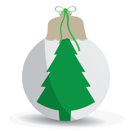 snowball: Isolated snowball with a christmas tree on a white background