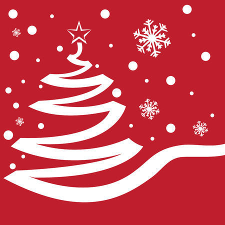 silhouete: Red background with a silhouette of a christmas tree and snowflakes