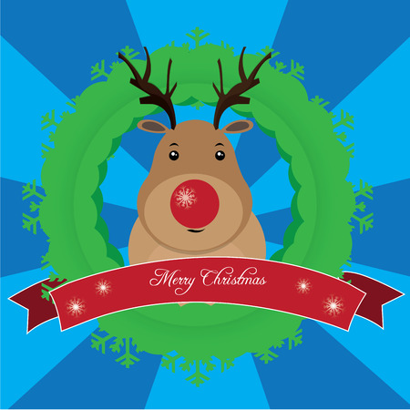 reindeer: Blue striped background with a reindeer for christmas Illustration