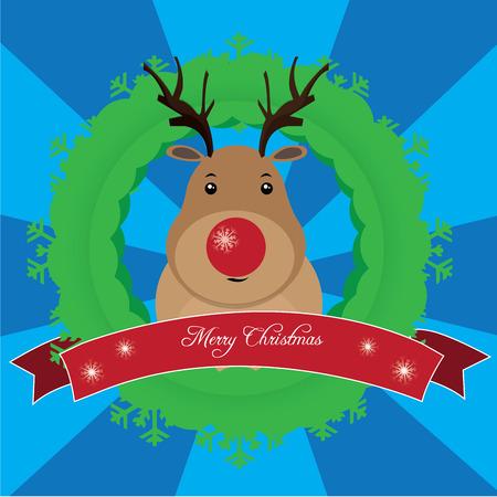 reno: fondo azul de rayas con un reno para la Navidad Vectores