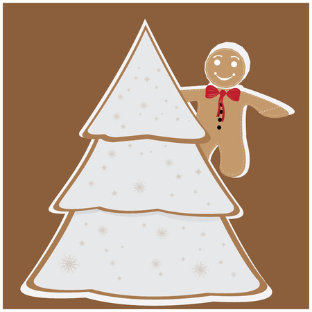 christmas cookie: Colored background with an isolated christmas tree and a traditional cookie