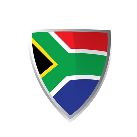 south african flag: A geometric badge with the south african flag on a white background