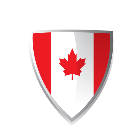 canadian flag: A geometric badge with the canadian flag on a white background