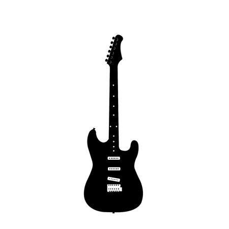 guitarra: Una silueta aislada de una guitarra eléctrica en un fondo blanco