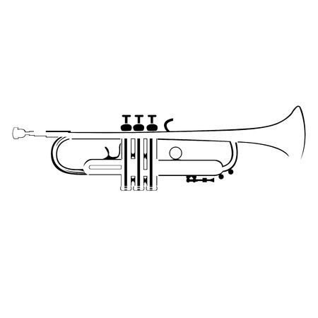 trumpet isolated: An isolated silhouette of a trumpet on a white background