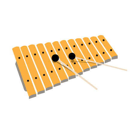 xylophone: An isolated sketch of a xylophone on a white background Illustration