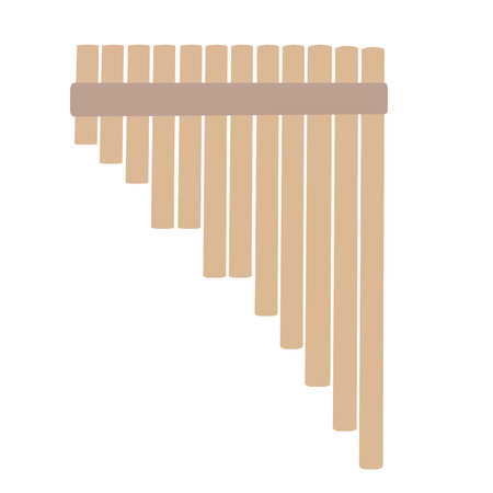 pan flute: An isolated sketch of a flute pan on a white background
