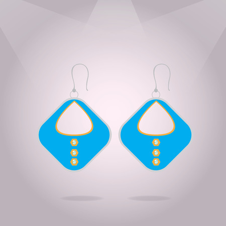 earring: Isolated beautiful earring on a colored background