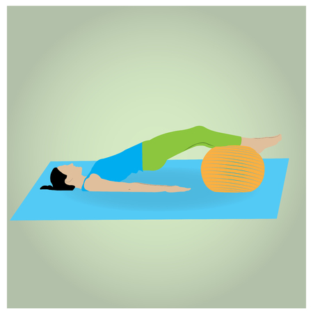 endurance: Isolated woman on a colored background doing exercises