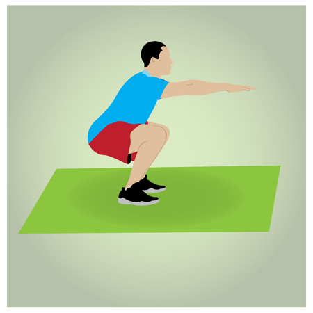 squat: Isolated man on a colored background doing exercises