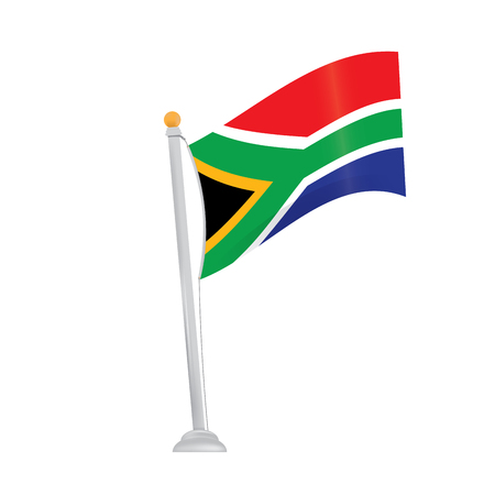 south african flag: Isolated south african flag on a white background