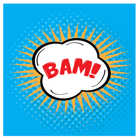 onomatopoeia: Isolated comic expression on a colored background