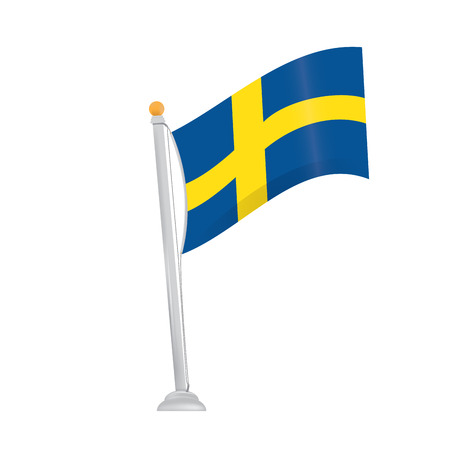 swedish: Isolated swedish flag on a white background