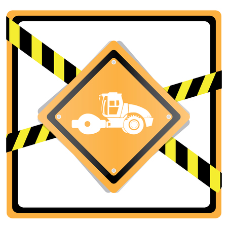 crawler tractor: Isolated tractor silhouette on a construction sign on a white background