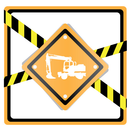 crawler: Isolated crawler silhouette on a construction sign on a white background