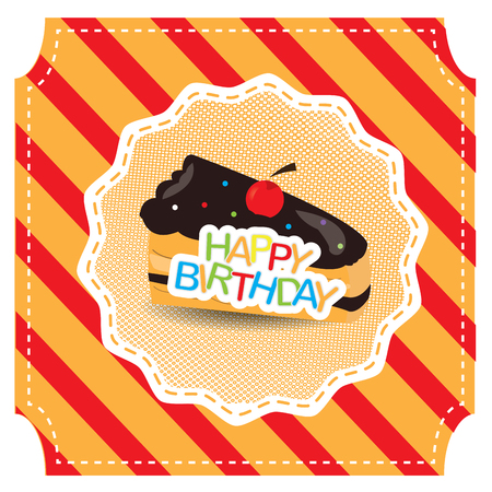 porcion de pastel: Colored background with text and a piece of cake for a birthday