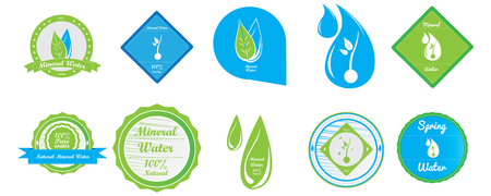 mineral: Set of different mineral water banners on a white background Illustration