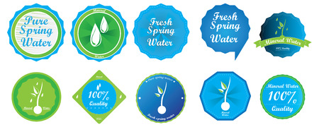 organic fluid: Set of different mineral water banners on a white background Illustration
