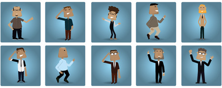 colored backgrounds: Set of handsome businessmen on different colored backgrounds