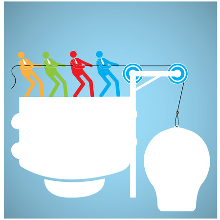 assemble: Group of people working together to assemble a lightbulb on a blue background