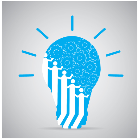 working together: Group of people working together with gears inside a lightbulb Illustration