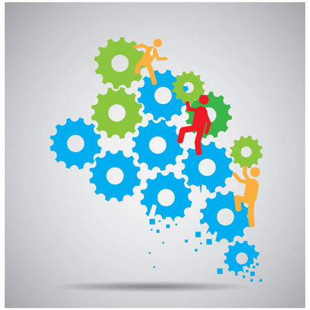 working together: Group of people working together with gears on a grey background Illustration