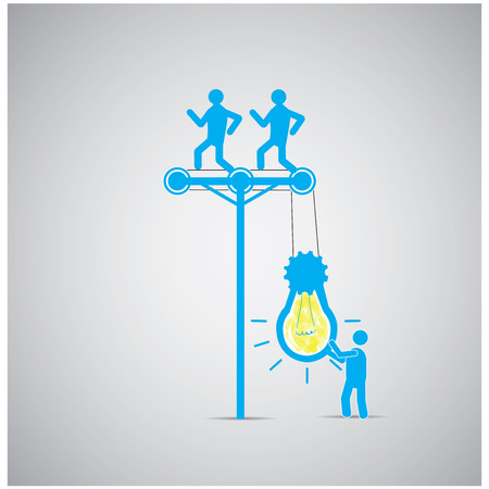 turn on: Group of people working together to turn on a lightbulb on a grey background
