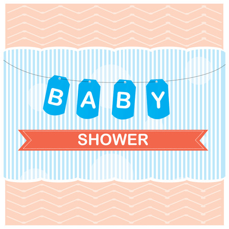 showers: Colored background with text and a ribbon for baby showers