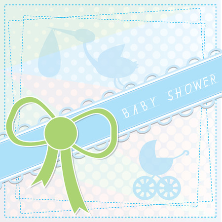 showers: Blue background with text and some elements for baby showers