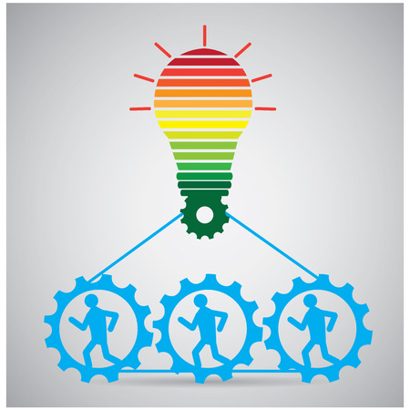 turn on: Group of people working together to turn on a lightbulb