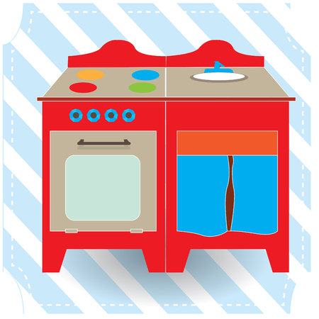 Isolated kitchen toy on a blue textured background