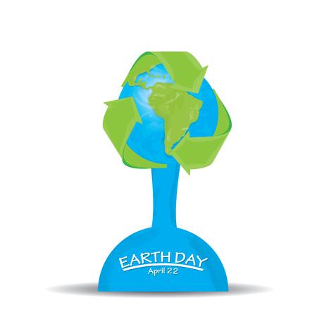 reciclable: Fondo blanco con nuestro planeta y un s�mbolo reciclable para el d�a de la Tierra Vectores