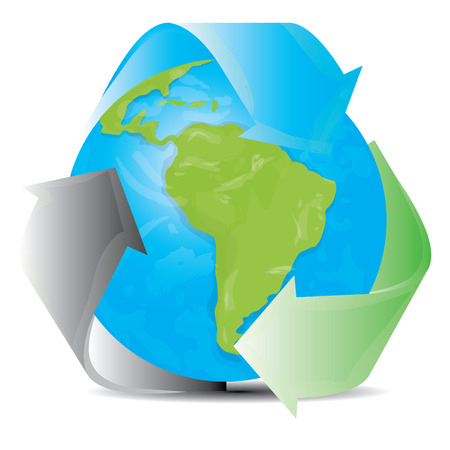 reciclable: Fondo blanco con nuestro planeta y un símbolo reciclable