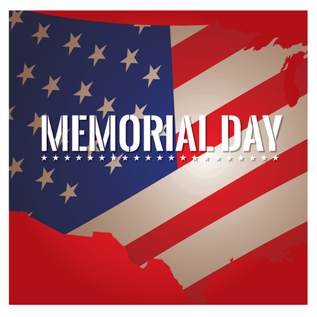 a memorial to fallen soldiers: Colored background with text and the american flag for memorial day
