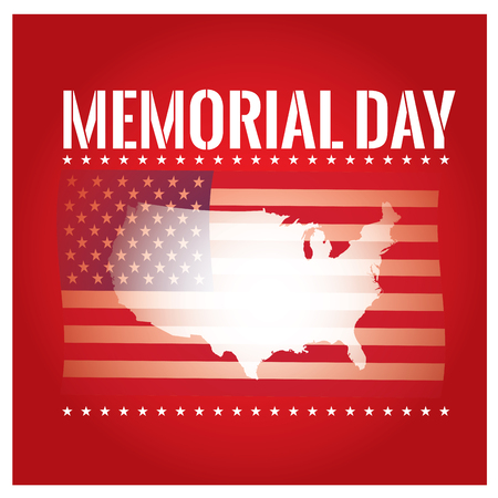 fallen: Colored background with text, the american flag and map for memorial day Illustration
