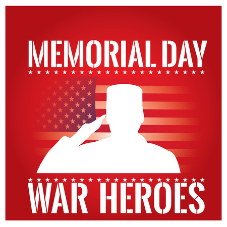 a memorial to fallen soldiers: Colored background with text, a silhouette of a soldier and the american flag for memorial day