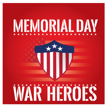 fallen: Colored background with text, a heraldry shield and the american flag for memorial day