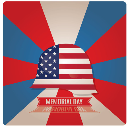 a memorial to fallen soldiers: Colored background with a military helm with the american flag for memorial day