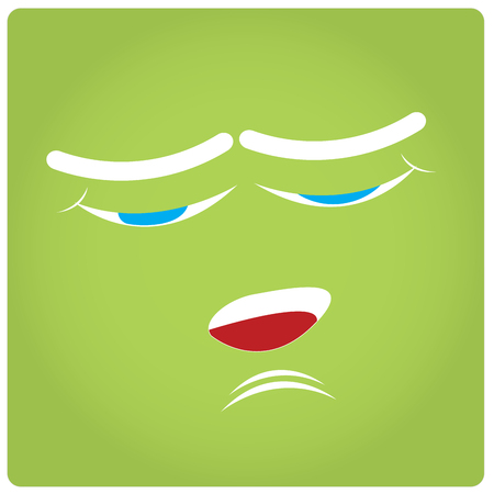 facial expression: Green background with an abstract facial expression