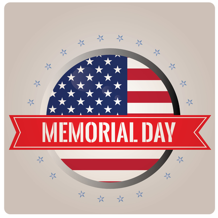 Isolated banner with the american flag, stars and a ribbon with text for memorial day