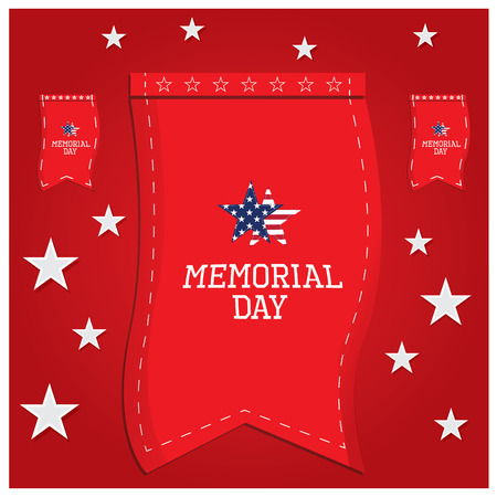 a memorial to fallen soldiers: Group of banners with text and stars for memorial day Illustration